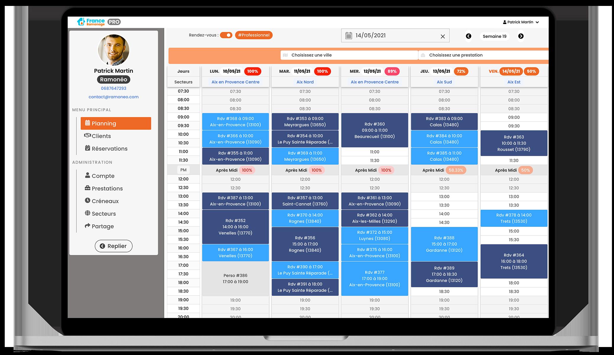 France Ramonage PRO : application desktop